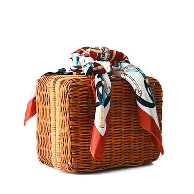 Модные летние соломенные ткань женские сумки ретро окно ствол шарф обед сумки пляжные Упаковка маленькие сумки женские шарфы BA214