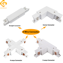 GO OCEAN Track Rail Connector Rail Connectors 4 Wire Connector Universal Track Rails Fitting For Track Light Connectors go ocean track rail connector track linker 3 wire i l t cross shape connectors led spotlight connector rail connectors