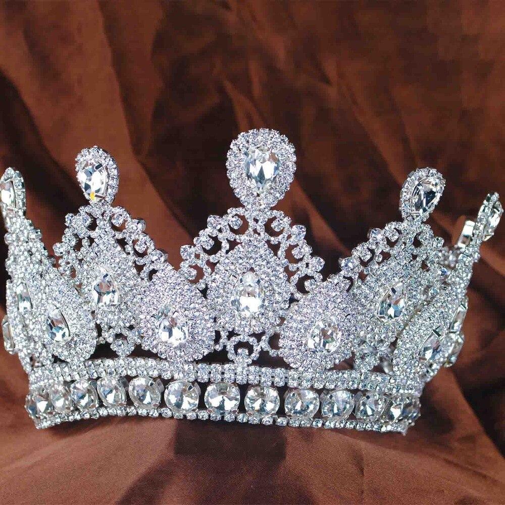 New Lady Tiara Crown Clear Crystal Rhinestones Handmade Bridal Wedding Hairwear Princess Prom Crowns High Quality Hair Jewelry