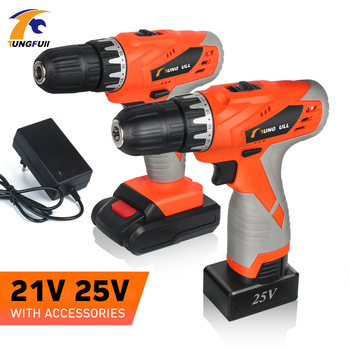 цена на Electric Cordless Drill Lithium Screwdriver 21v 25v Electric Rechargeable Screwdriver Battery Drill Wireless Battery 2-Speed