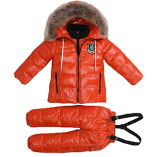 2018 Winter Down Jacket Parka For Girls Boys Snowsuits Jackets Children's Clothing Set Overall Snow Wear Kids Outerwear Coats
