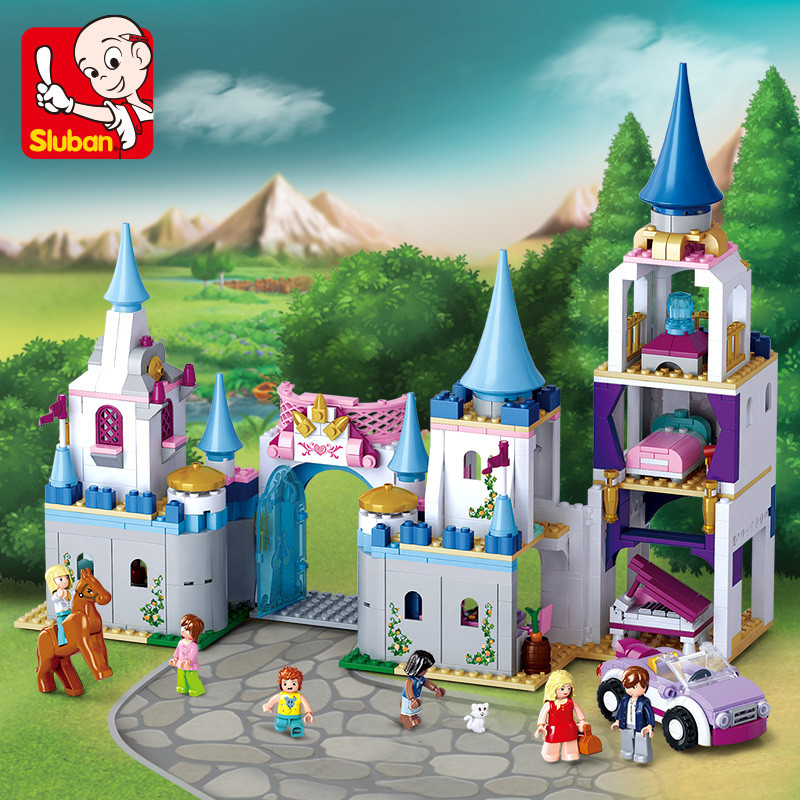SLUBAN 815Pcs City Enchanted Castle Building Blocks Sapphire Princess Castle Girl Friends Kids Model Toys Christmas