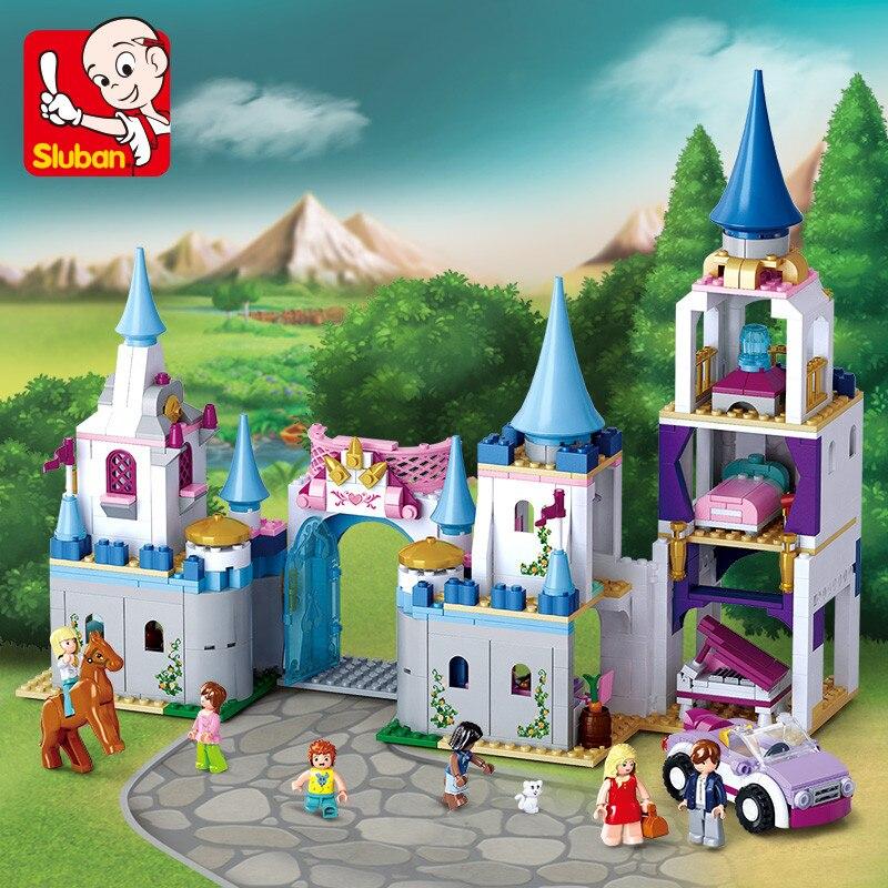 SLUBAN 815Pcs Legoing City Enchanted Castle Building Blocks Sapphire Princess Castle Girl Friends Kids Model Toys Christmas Gift