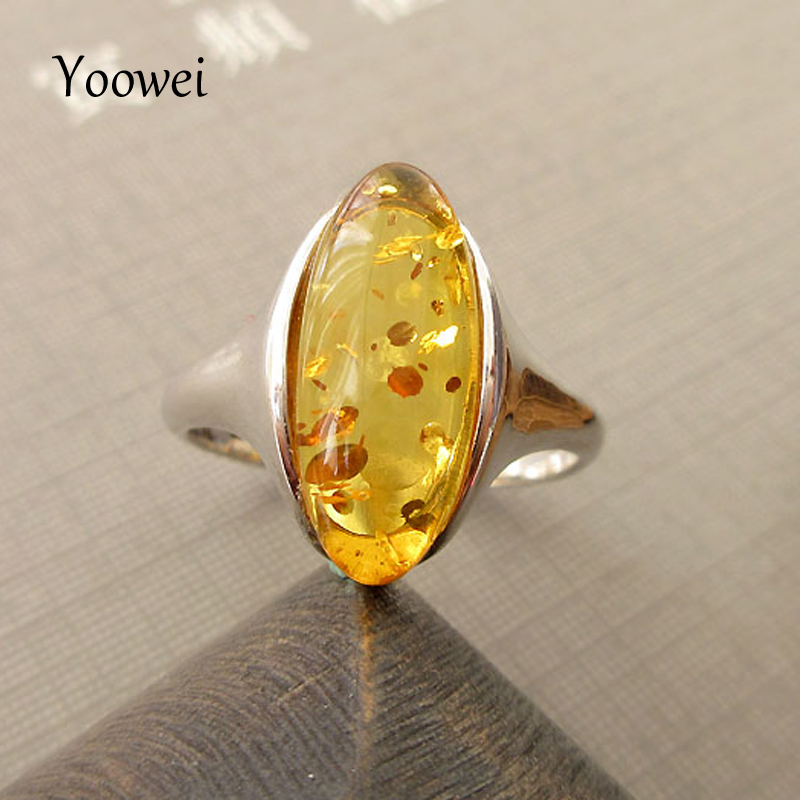 Yoowei Original Amber Rings Wedding Gift for Women 925 Sterling Silver Simple Oval Shape Natural Amber Stone Jewelry ambre bague simple 925 sterling silver round rainbow natural moonstone rings for women girls wedding engagement jewelry finger bague aneis