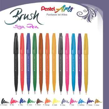 Pentel fude touch sign pens brush tip 12 assorted colors in pen pouch for modern calligraphy, hand lettering, Japan set - DISCOUNT ITEM  15% OFF All Category