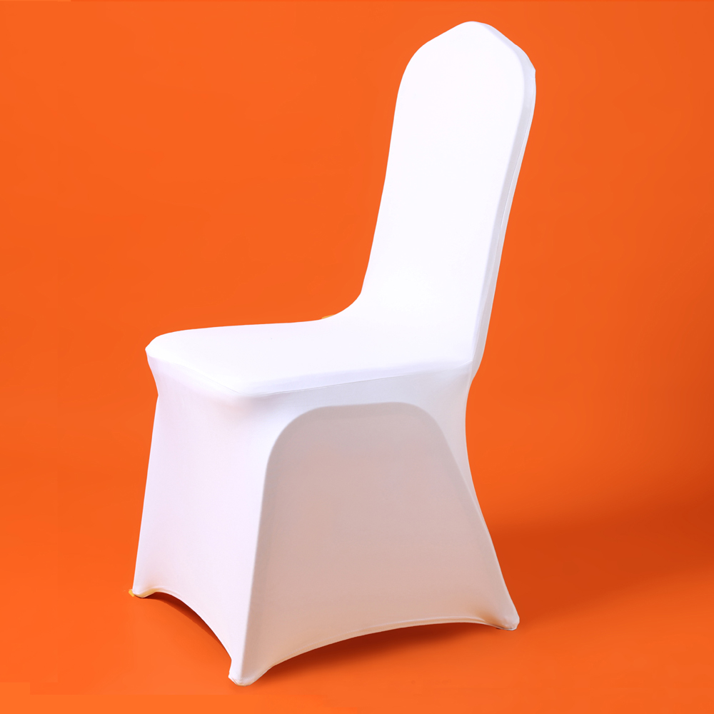 100Pcs Cheap Universal Wedding White Chair Covers for Reataurant Banquet Hotel Dining Party Lycra Polyester Spandex Chair Cover image