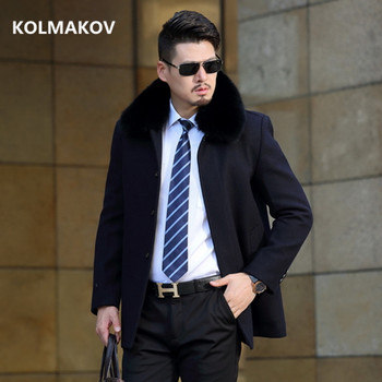 2019 Winter high quality wool jacket Men's Business  turndown collar trench coat Men's casual coat Classic men overcoat