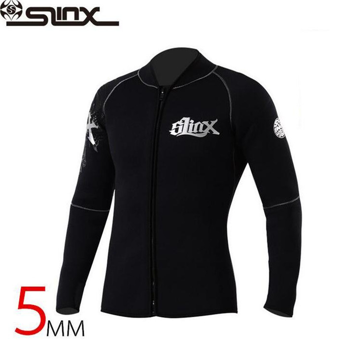 SLINX 5mm Neoprene Men Scuba Diving Swimsuit Boating Fleece Lining Warm Jacket Wetsuit Surfing Windsurfing Swimwear slinx men women 1109 5mm neoprene fleece lining warm jacket wetsuit kite surfing windsurfing swimwear boating scuba diving suit