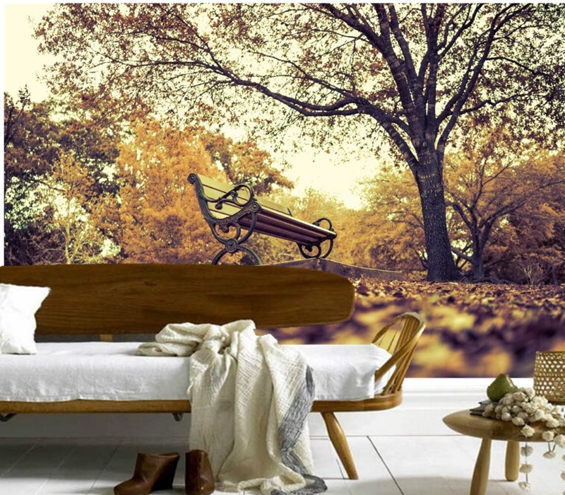 Custom 3D murals,Parks Autumn Bench Trees Nature papel de parede,hotel restaurant bar living room sofa TV wall bedroom wallpaper custom 3d wallpaper mural chinese style flower and bird wallpaper restaurant living room bedroom sofa tv wall papel de parede
