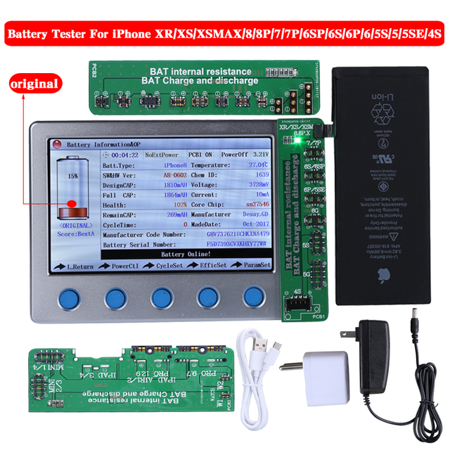 New Apple iPhone Battery Tester For iPhone XR XS XS MAX X 8 8P 7 7P 6S 6SP 6 6P 5 5S 4S Battery Checker a Key Clear Cycle