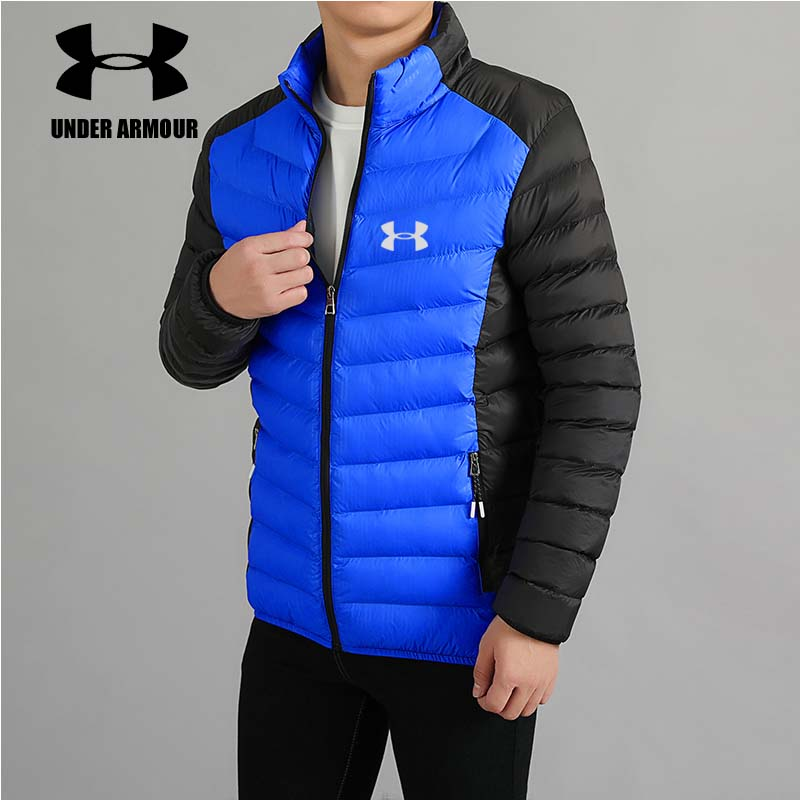 Under Armour Men Down Jackets winter light warm White Duck Down Jackets Slim Stand-Collar hiking Parka Jacket Asian size XL-5XL stand collar zip up color block splicing design down jacket