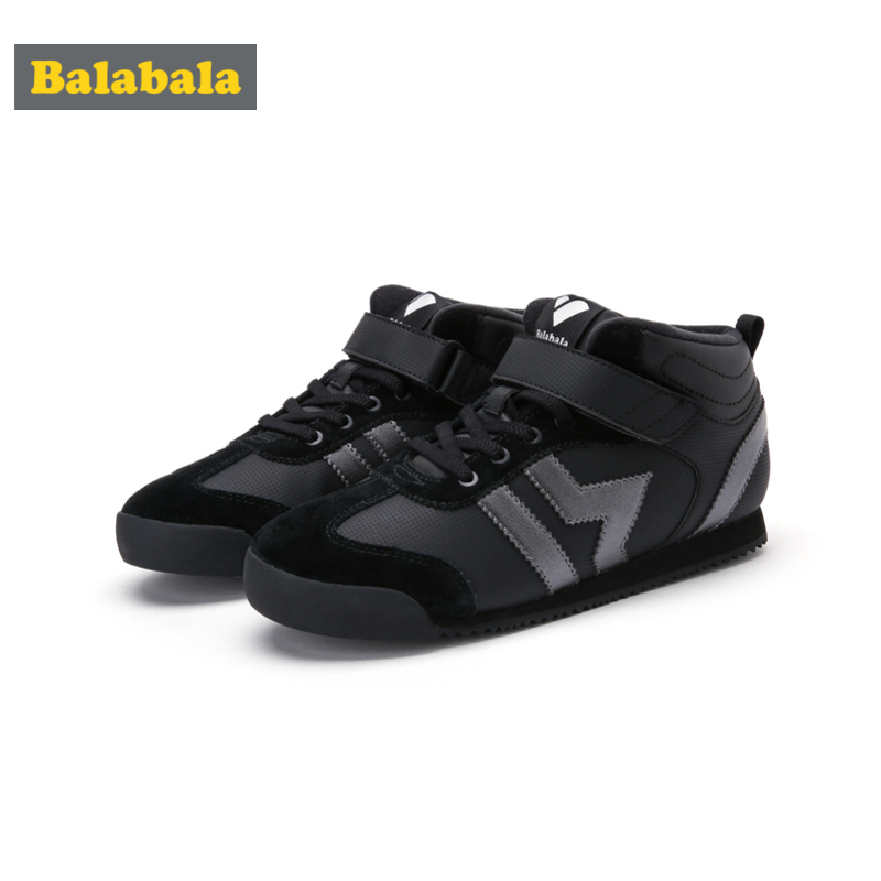Balabala Boys Girls Fleece-Lined High Top Sneakers With Hook-and-loop Strap For Kids Toddler Girl Boy Padded Collar