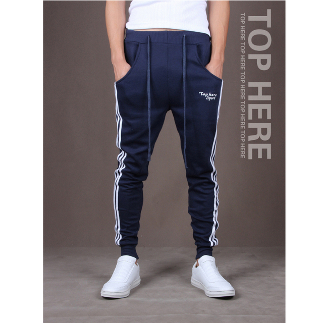 New Spring 2016 men's Fashion Designer Trousers Sweatpants, Men Casual  Pants Slim Pencil Pants Stripe Joggers M ~ XXL