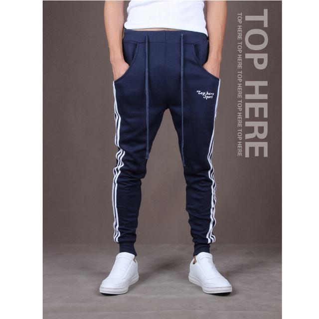 Nueva Primavera 2016 Diseñador de Moda de los hombres Pantalones de Chándal, los hombres Pantalones Casuales Delgado Pantalones Lápiz Raya Corredores M ~ XXL