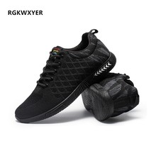 RGKWXYER New Men Breathable Casual Shoes Lace-Up Lightweight Comfortable Walking Sneakers Tenis Zapatos Cloth