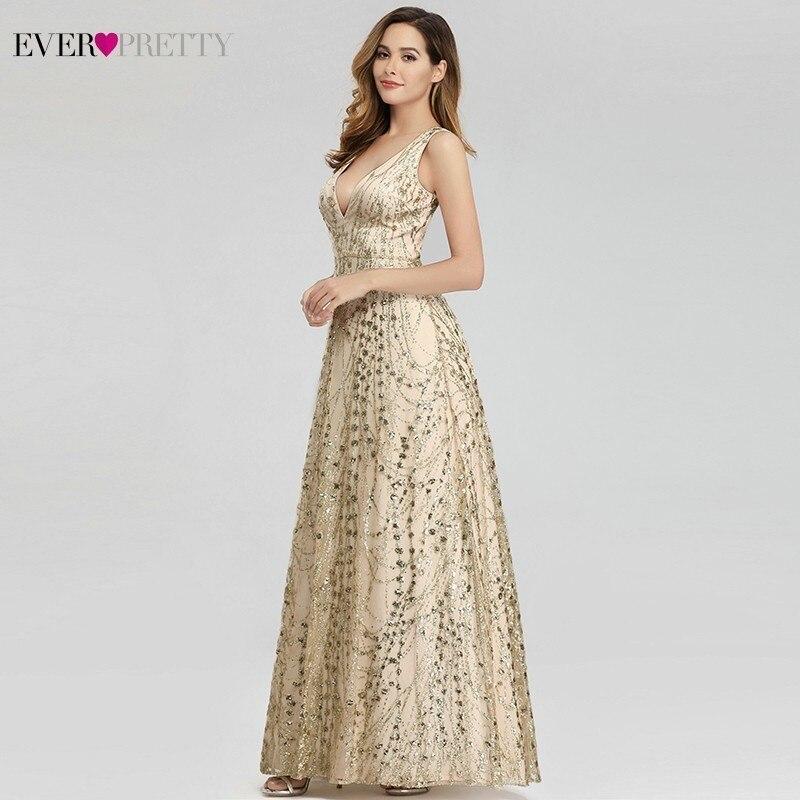 Sparkle Evening Dresses Long Ever Pretty A Line V Neck Sleeveless Sequined Saudi Arabia Formal Dress Vestidos De Fiesta De Noche in Evening Dresses from Weddings Events