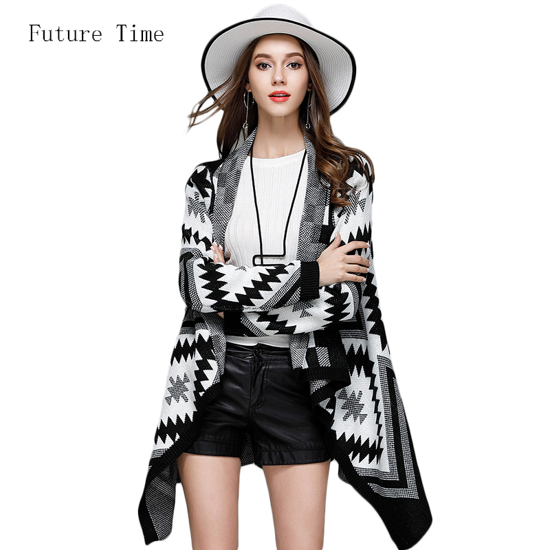 Open Stitch Fashion Geometric Knitting Cardigans 2017 Autumn Asymmetrical Sweater Cardigan Loose Large Size Clothing Women SK258