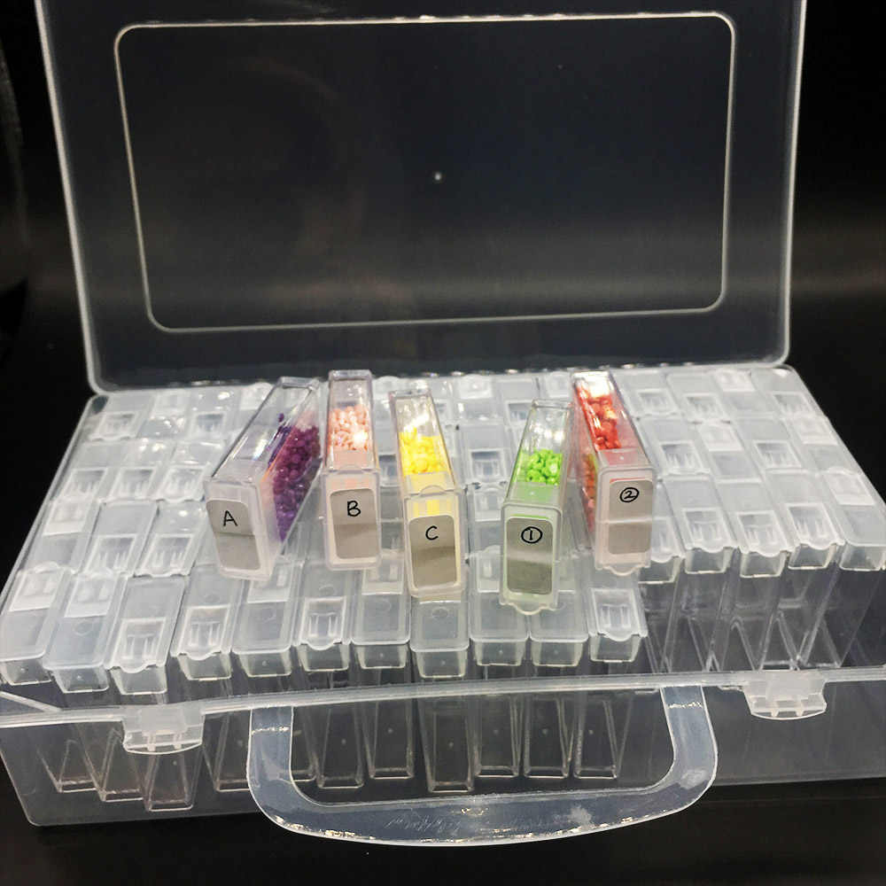 64/128/PCS Lukisan Berlian Alat Manik-manik Wadah Berlian Imitasi Diamond Bordir Batu Penyimpanan Aksesori Mosaik Kotak Kenyamanan