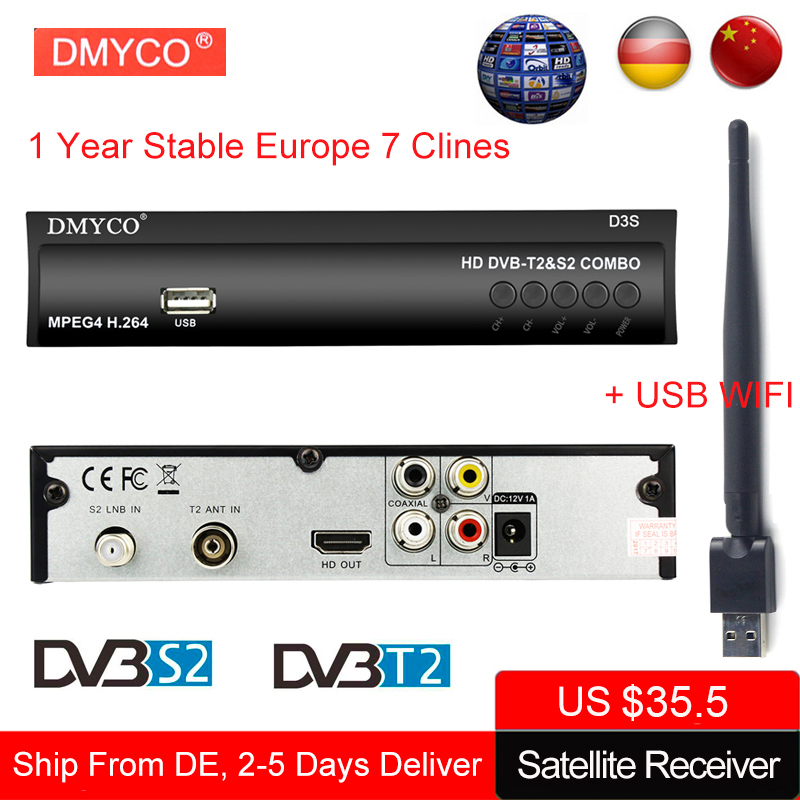 DMYCO DVB S2 Digital Satellite Receiver lnb TV Tuner with USB Wifi antenna Receptor Support 1 Year 7 Cline DVB T2 MPEG 4 Decoder