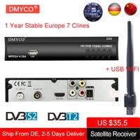 DMYCO DVB-S2 Digital Satellite   Receiver   lnb   TV   Tuner with USB Wifi antenna Receptor Support 1 Year 7 Cline DVB-T2 MPEG-4 Decoder