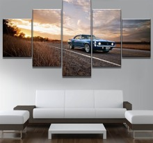 Framework 5 Piece HD Print Large Camaro Car Poster Cuadros Landscape Canvas Wall Art Home Decor
