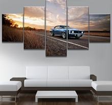 Framework 5 Piece HD Print Large Camaro Car Poster Cuadros Landscape Canvas Wall Art Home Decor For Living Room Canvas Painting