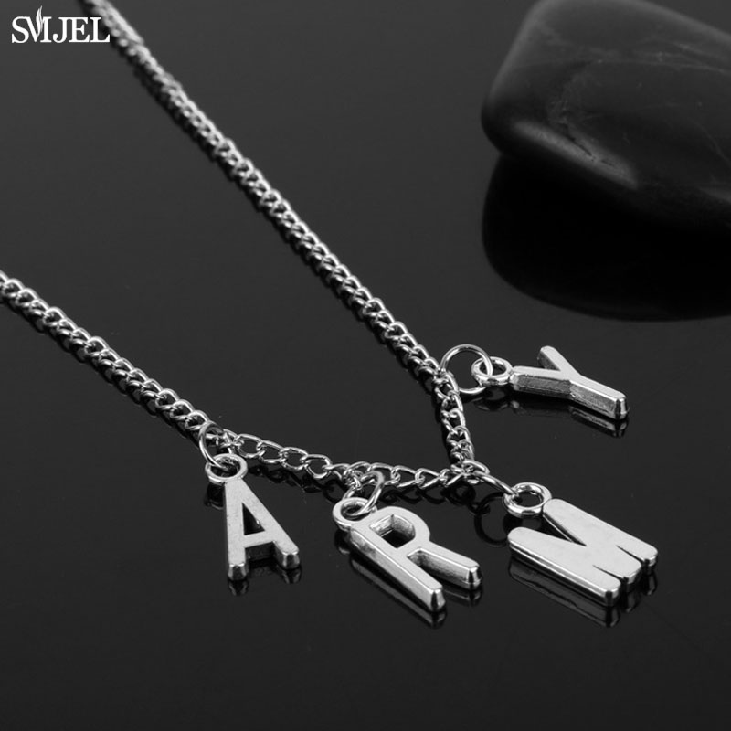 SMJEL Trendy Jimin ARMY Letter Choker Necklaces for Women Men Kpop Bangtan Boys Jewelry Korean Show Your Love Gifts for Friend image