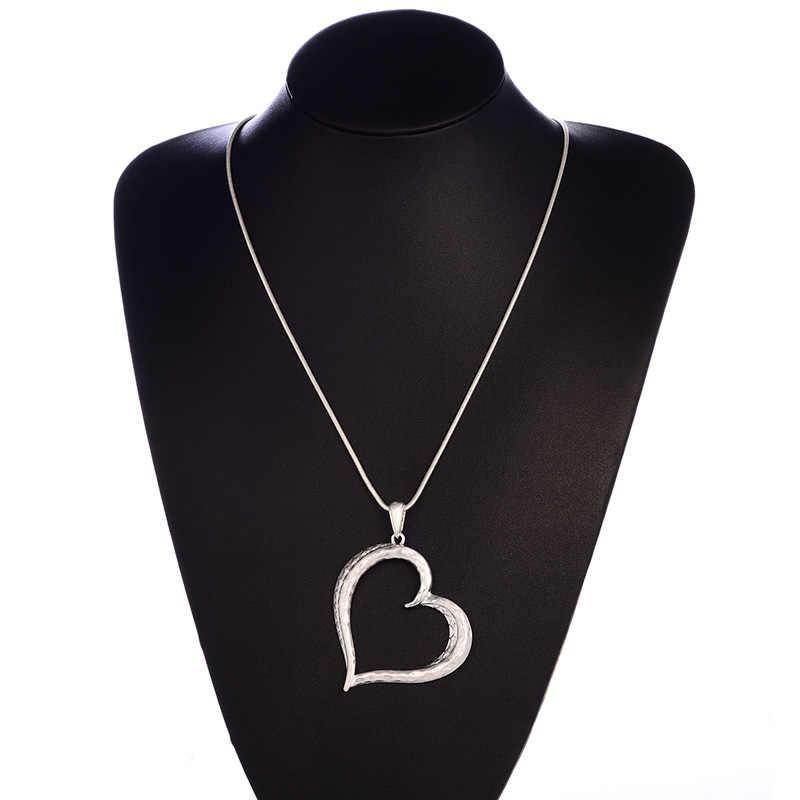 Shineland 2019 Hot sprzedaż Vintage duże serce kształt Hollow Charms długi metalowy łańcuch wisiorek naszyjnik dla moda mężczyźni i kobiety biżuteria