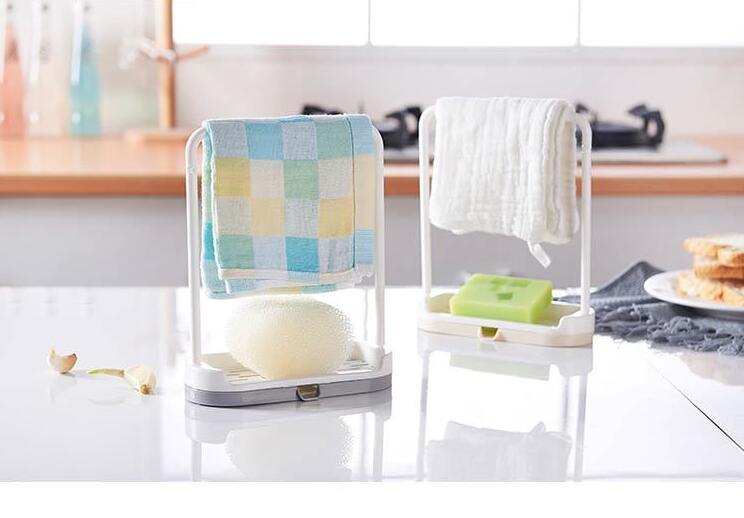 1PC Towel Sponge Storage Rack Hanging Bathroom Kitchen Utensil Box Hot Rag Broom Hanger Hook OK 0723