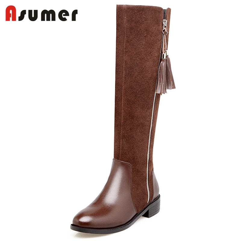 купить ASUMER 2018 NEW fashion cow suede leather+genuine leather boots zip knne high boots women round toe square med heel winter boots по цене 4525.91 рублей