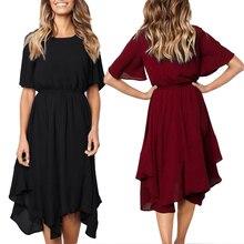 Summer Elegant Red Dress Women Vintage Half Sleeve High Elastic Waist Tiered Ruffles Irregular Midi