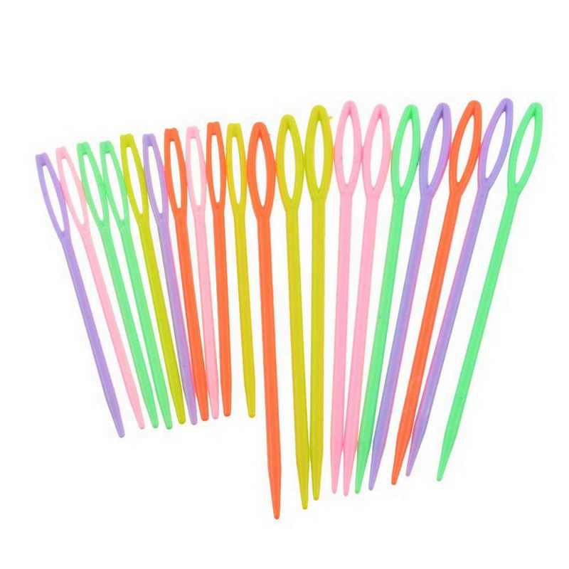 Urijk 20PCs/set Mixed Color Plastic Knitting Needles For Needlework Home Patchwork Seam Handmade DIY Crafts Sewing Accessories