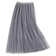2019 New Spring Korean High Waist Slim tutu Skirts Fashion Beading Double Layers Pleated A-Line Long Mesh Skirt Saias Faldas