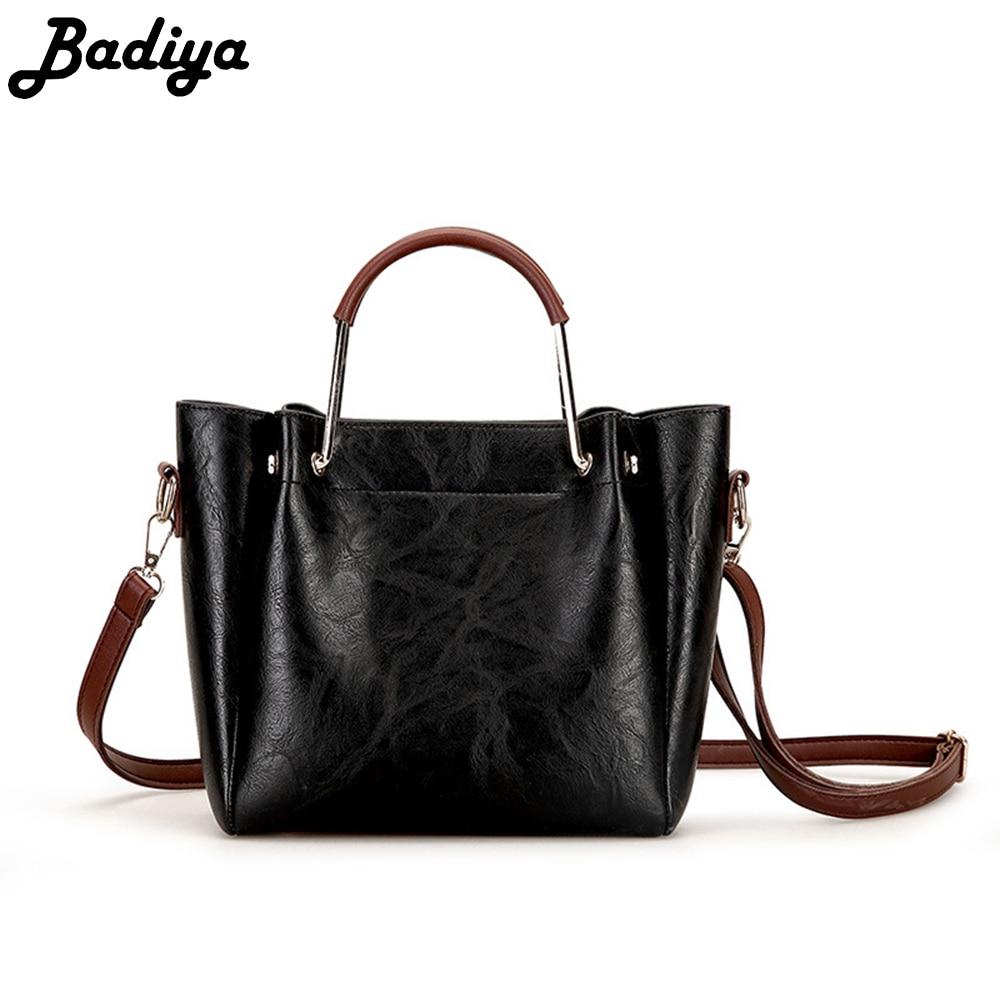 Winner&Autumn Trendy Hit Color Top Handle Handbag Vintage Leather Crossbody Bag Large Capacity
