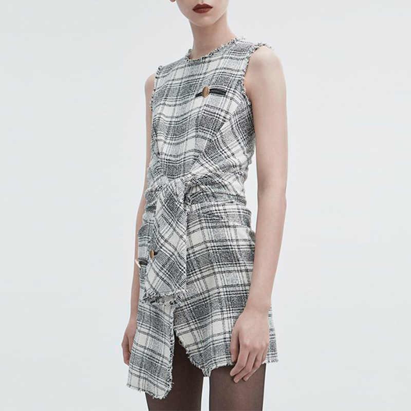 TWOTEINDTYLE клетчатое шерстяное платье женское без рукавов с высокой талией со шнуровкой Нерегулярные мини-платья Женская Осенняя винтажная одежда 2018