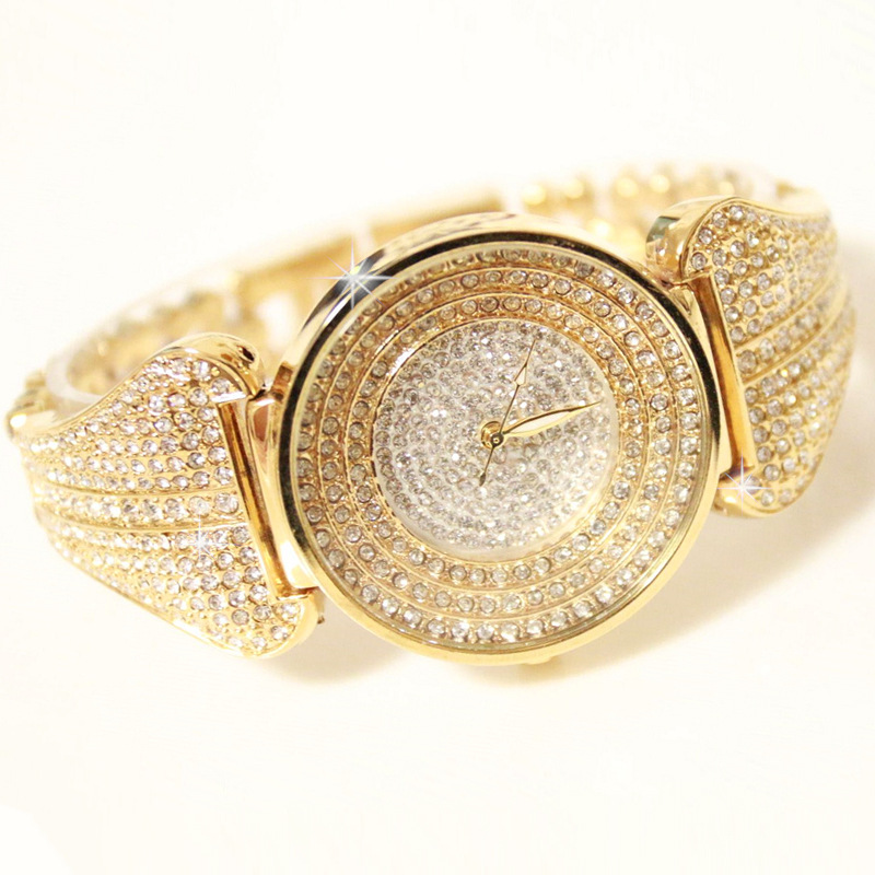 New Arrival Famous BS Brand Bling Diamond Bracelet Gold Watch Women Luxury Austrian Crystal Big Watch Rhinestone Charm Bangle spring big sale brand bs luxury 14k gold diamond women watch lady gold siliver dress watch rhinestone bangle bracelet