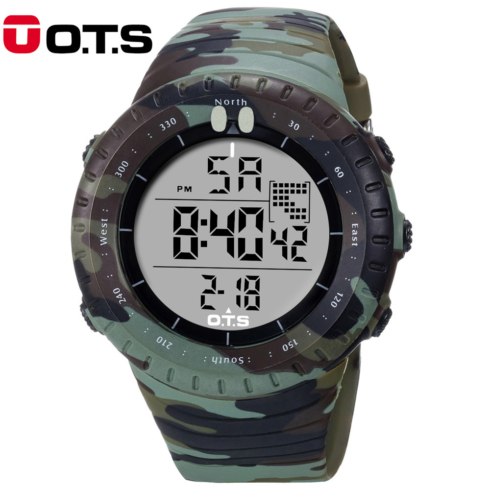O.T.S 2017 New Fashion Cool Mens Digital Men Outdoor Sports Watches Luxury LED Military Camouflage Waterproof Wristwatches