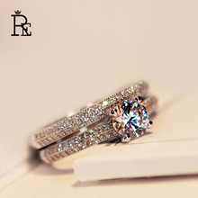 RE High Quality 925 Silver AAA Cubic Zirconia Ring Metal Plated 6mm Main Stone Wedding Engagement Finger Knuckle Rings