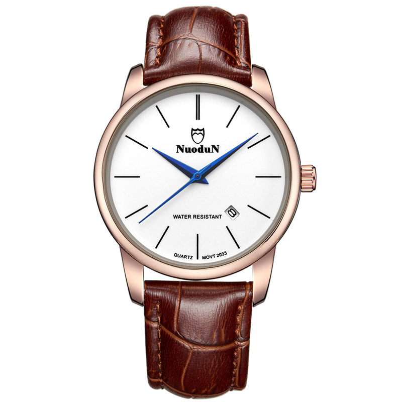 Montre Homme Marque De Luxe Quartz Watch Noctilucent Waterproof Brown Leather Watches For Men Gents Watches