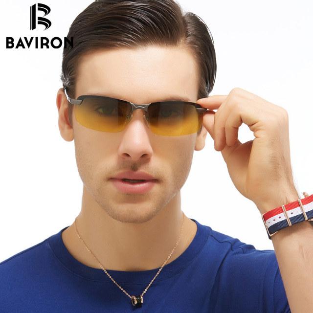 BAVIRON Día HD Vision Conducción Antideslumbrante Gafas de Visión Nocturna gafas de Sol Polarizadas Para Hombres Retro Cuadrados Semi-Sin Montura Gafas de Sol 3043