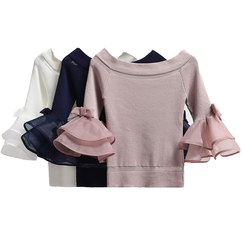 2018 New Fall Runway Designer Women Sweater Pullover Mesh Sweet Elegant Bow Ruffles Basic Knitted Sweaters Pullovers Crop Tops
