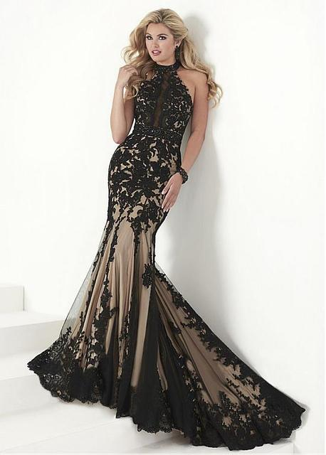 884690ca064 Charming Tulle   Satin Halter Neckline Black Mermaid Evening Dresses With  Lace Appliques Beaded Waist Prom Dress Long
