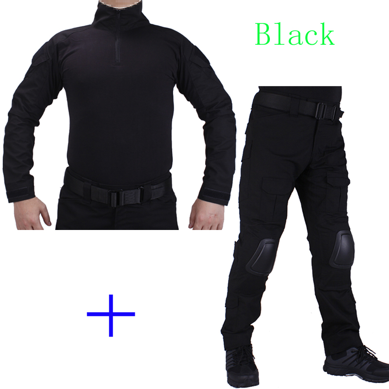 Hunting Camouflage BDU Black Combat uniform shirt met Broek en Elbow & KneePads militaire cosplay uniform ghilliekostuum jacht