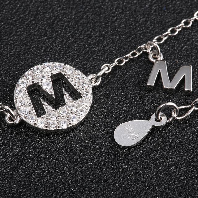 Sterling Silver Letter M Charm Bracelet