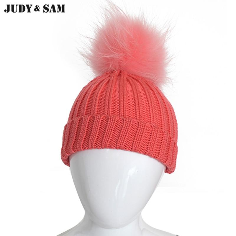 100% Merino Wolle Baby Hut 2 Farben Kinder Winter Beanie Cap Mit Echten Waschbären Fell Pompon Stricken Hut Für Mädchen