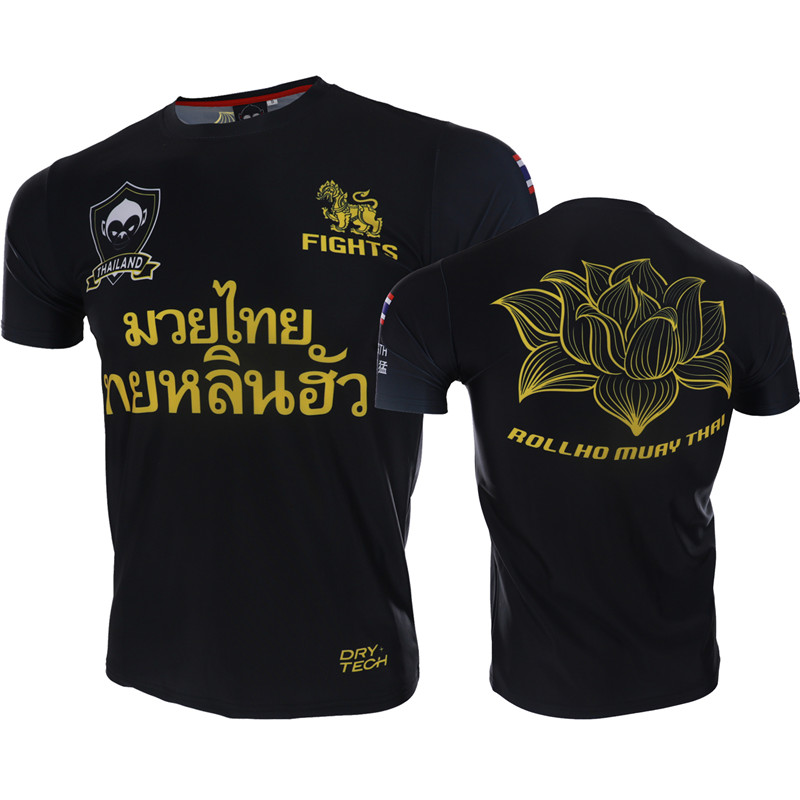 VSZAP Fitness Men Tshirt Short Sleeve Lotus Printed Quick Drying Tops MMA Sporting Fighting T-Shirt UFC Fight Sanda Muay Thai