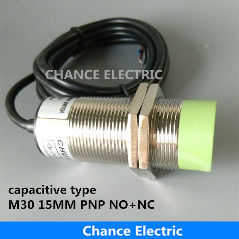 capacitance type proximity sensor M30 15mm detect distance PNP NO+NC DC capacitive proximity switch (CM30-15-DPC) 30mm capacitive proximity sensor switch nc 25mm detection distance ljc30a3 h j dz 2 wire ac90 250v mounting bracket