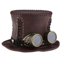 Adults Steampunk Gear Punk Flat Top Hat with Goggle Retro Victorian Fancy Dress Accessories