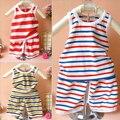 1 ~ 2 edad babys ropa establece chaleco + pantalones cortos de Rayas del verano del bebé (pantalones de los asientos abiertos) 2 unids/set Niños de boys & girls sistemas de la ropa