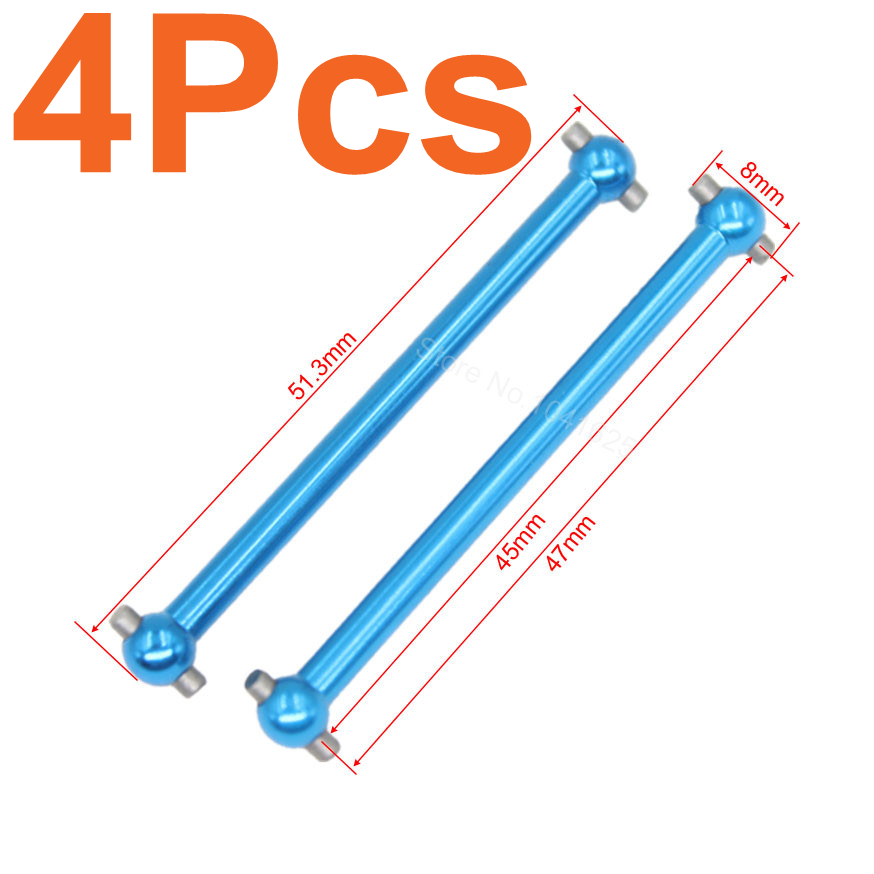 4pcs WLtoys A979 Parts Upgrade F/R Metal Steel Dogbone A959-07 For A949 A959 A969 K929 Himoto E18 Spino HSP 1:18 RC Car 82910 ricambi x hsp 1 16 282072 alum body post hold himoto 1 16 scale models upgrade parts rc remote control car accessories